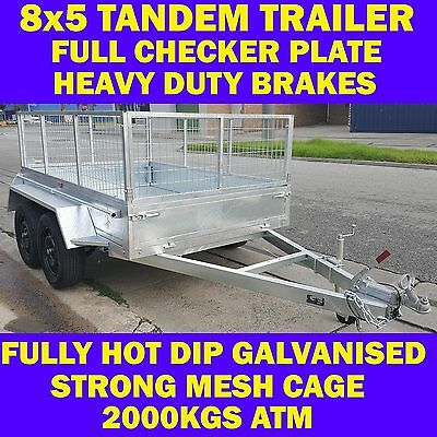 8x5 galvanised tandem trailer with cage 2000kgs new