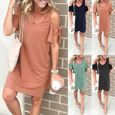 Women Sexy Lace Up V Neck Casual Loose Off Shoulder Short Sleeve Shirt Dress Z