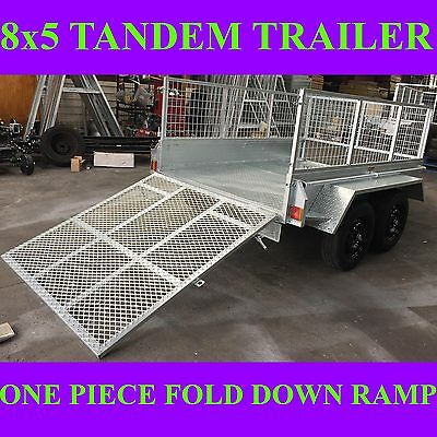8x5 galvanised tandem trailer with cage and ramp 2000kgs