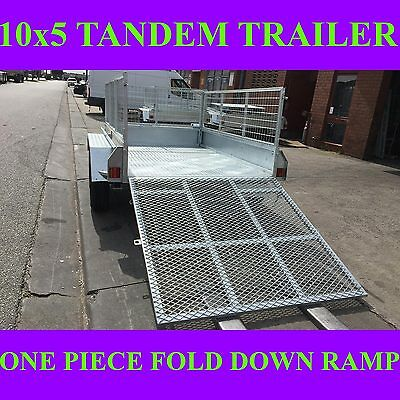 10x5 galvanised tandem trailer with mesh cage and ramp 2000kgs