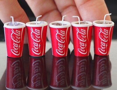 Dollhouse Miniature 5 Ice COCA COLA Coak Cups Food Supply Soft Drink Refreshment