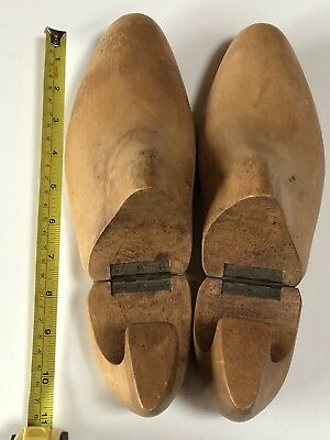 Pair of Antique Vintage Wooden Cobblers Shoe Mold Hinged Dress Shoes Sz 11