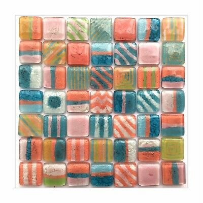CANDY SHOP Mix colour Fused Glass Mosaic Tiles Sheets Borders Hand-painted