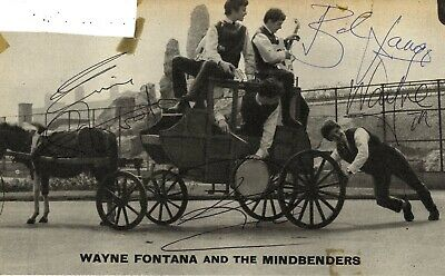 Wayne Fontana & The Mindbenders - In Person Signed 60's Pop Publication Picture.
