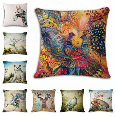 Phoenix deer Linen Cotton Throw Pillow Case Cushion Cover Home Sofa Decor