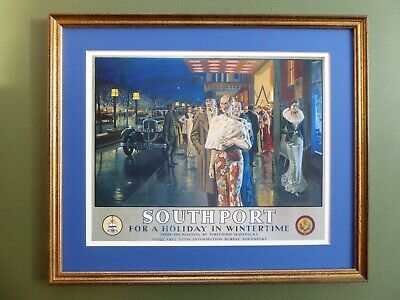 Stunning LMS Framed ART DECO Railway TRAVEL Print 'SOUTHPORT' Fortunino Matania