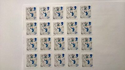 20 Second Class Christmas Stamps Off Paper With Full Original Gum
