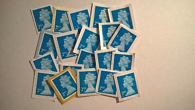 20 Unfranked Second Class Blue Security Stamps On Paper With Minor Faults