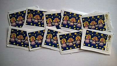 10 Unfranked Second Class Children's Artwork Christmas Stamps