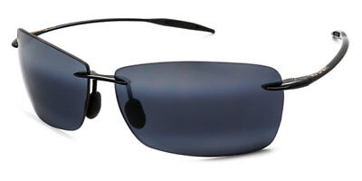 a27e8e2f5e21 NEW Maui Jim Sunglasses LIGHTHOUSE Polarized Gloss Black Neutral Grey 423-02