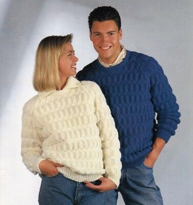ba559fe7c1 HIS N HERS Sweaters Knitting Pattern Aran Crew Neck Ladies   Mens 32 ...