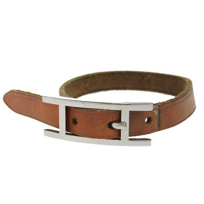 Auth HERMES ApiⅢ Logo Bracelet Bangle Leather Brown Silver Accessory 07KA032
