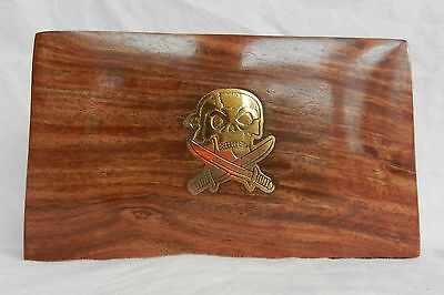 Wooden Box with Brass Pirate / Skull & Crossed Swords Inlaid Decoration - BNIB