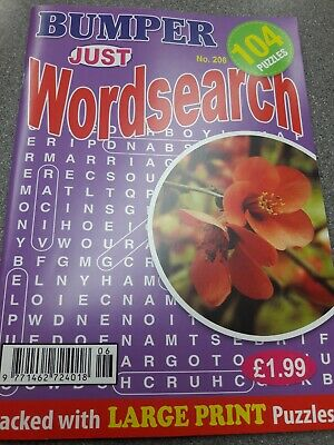 Bumper Just Wordsearch no 206 Large Print Special Edition. 104 puzzles