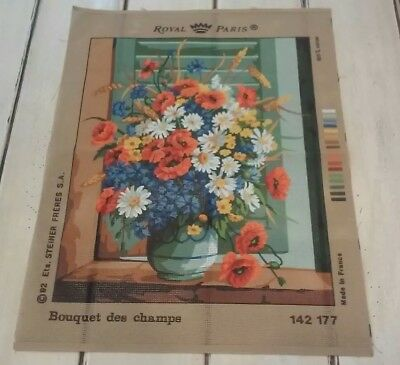 Vintage Needlepoint Canvas Royal Paris Bouquet des champs 142 177