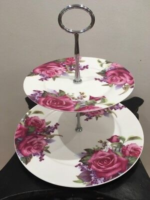 Maxwell Williams Two Tier Cake Stand Pattern Lilac Rose Flower Chintz With Box