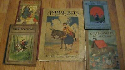 5  Antique Children's Books Early 1900's- Scarce - Rare Story Books