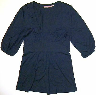 Juicy Couture Petite Empire Tunic Top Sz. P Navy Blue Knit Bell Sleeve Mini