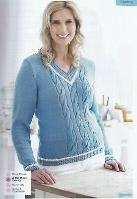 7ad3798ff5bf55 WOMENS CABLE KNIT pullover jumper knitting pattern 99p - £1.75 ...