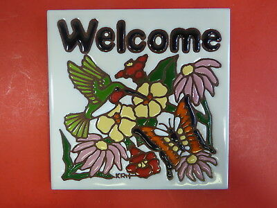 """Ceramic Art Tile 6""""x6"""" Welcome floral sign with hummingbird handpainted NEW K7"""