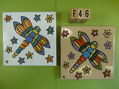 "Ceramic Art Tile 6""x6"" 2pcs set colorful Dragonfly Dragonflies flowers F46"