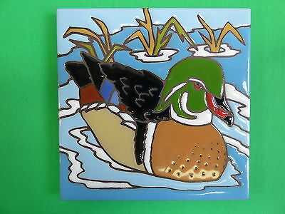 "Ceramic Art tile 6""x6"" Wood duck Carolina duck decorative wall tile trivet H10"