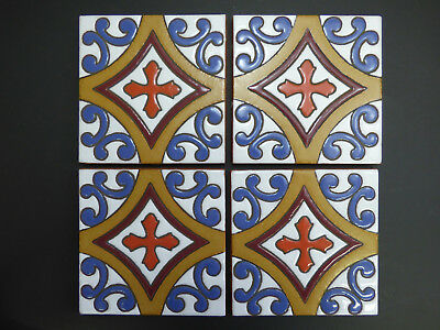 """5""""X5"""" FOUR TILES Hand Painted Mexican Talavera Clay Indoor Outdoor Accent Tile"""