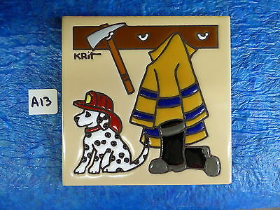 """Ceramic Art Tile 6""""x6"""" Fireman with Axe Dalmation Firehouse handpainted New A13"""