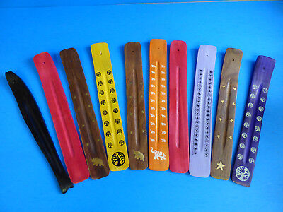 10 INCH Wood Incense Burner Ash Catcher Stick Brass inlay (10 PC Mixed Lot) NEW