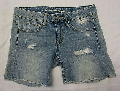 American Eagle Womens Girls Shorts Size 0 Denim Blue Jeans Distressed Cotton