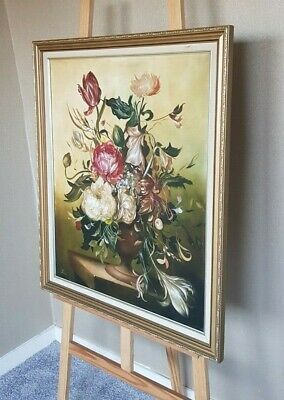 Stunning Oil Painting of Flowers Roses Large Size Signed by The Artist MKZ1