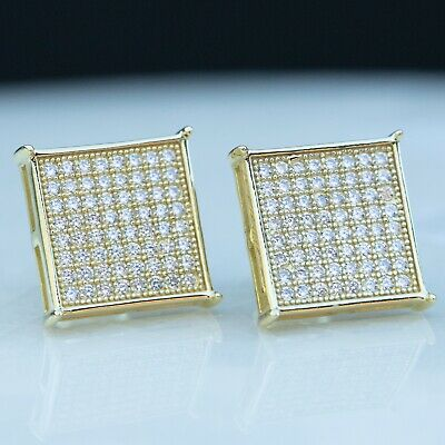 14K Gold Mens Hip Hop Large Square Sterling Silver Micro Pave Cz Stud Earrings