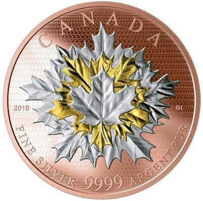 2019 5 Oz Silver $50 Canadian MAPLE LEAVES IN MOTION Coin.