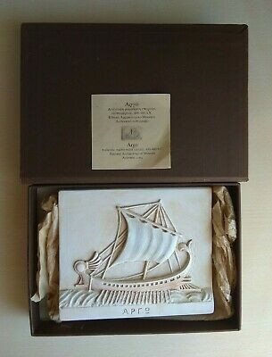 """Handmade Marble Relief """"Argo"""" Greek Trireme Ship National Archaeological Museum"""