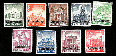 1940 Nazi Germany Occupation Of Luxembourg Mint Overprinted Stamps Architecture