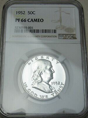 1952 Franklin Silver Half Dollar PF66 Cameo NGC PF66   Uncirculated