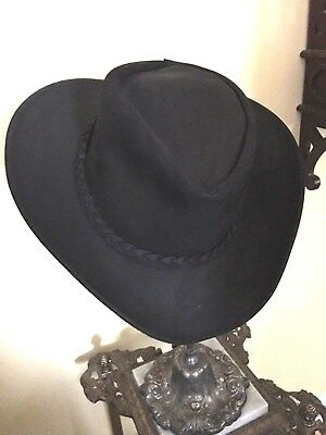 NEW USA MADE Henschel AUSTRALIAN Black Leather Western Cowboy Hat + ... 473677e4d19e