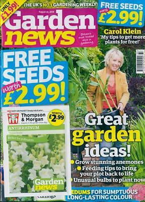 GARDEN NEWS MAGAZINE ISSUE 18th AUGUST 2018 WITH 2 x PACKS OF SEEDS ~ NEW ~