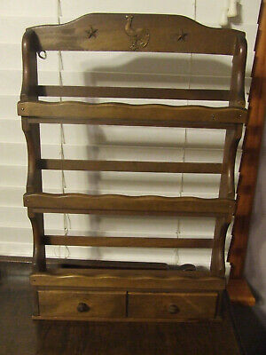 Vintage Wooden Spice Rack 3 Tier With Rooster Star Accent