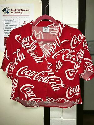 30abe62b82e72 Coca Cola Coke Women s Size XS S M L Loose Button Up Crop Top Shirt Red  White