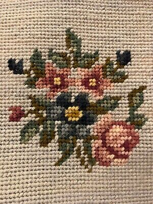 Small Vintage Finished Needlepoint Picture Flowers