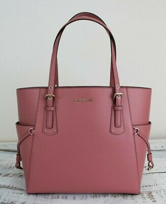 51bcd91e2ca3 NWT MICHAEL KORS Voyager East West Crossgrain Leather Tote Rose/Gold ...