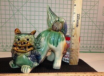 Ceramic Guardian Chinese Dragon Foo Dog Lion Glazed Green Blue Brown Cream