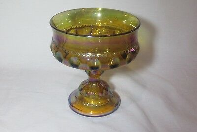 Indiana Glass Gold Carnival Glass King Crown Thumbprint Compote Candy Dish