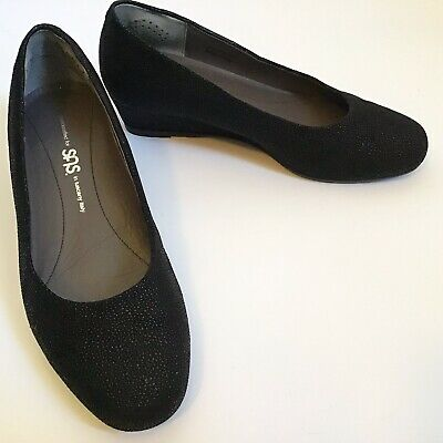 bdc8cd30a115 SAS Sofia 8WW EUR 38 Wedge Heel Pumps Black Shimmer Beaded Made In Italy