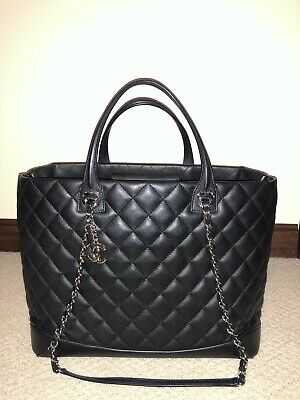 4704919459f66f Chanel Grand Shopping Gst Quilted Classic Timeless Black Smooth Leather Tote