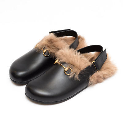14a663194d1 GUCCI FUR HERRINGBONE slippers with wolf head Size 7 (US 8) Brand ...