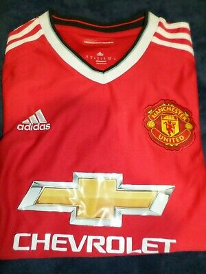 detailed look af348 e52b9 PRE-OWNED ADIDAS MANCHESTER United 2014 - 2015 Home Red Soccer Jersey Kit  Small