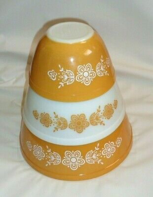 Vintage Pyrex Mixing Nesting Bowl U.S.A. *Butterfly Gold* x 3 Oven Bake