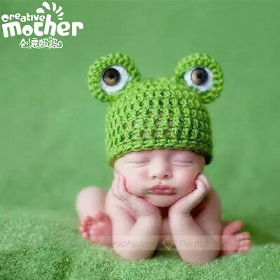 Newborn Baby Props Beanies Frog Knitted Crochet photography props Hat